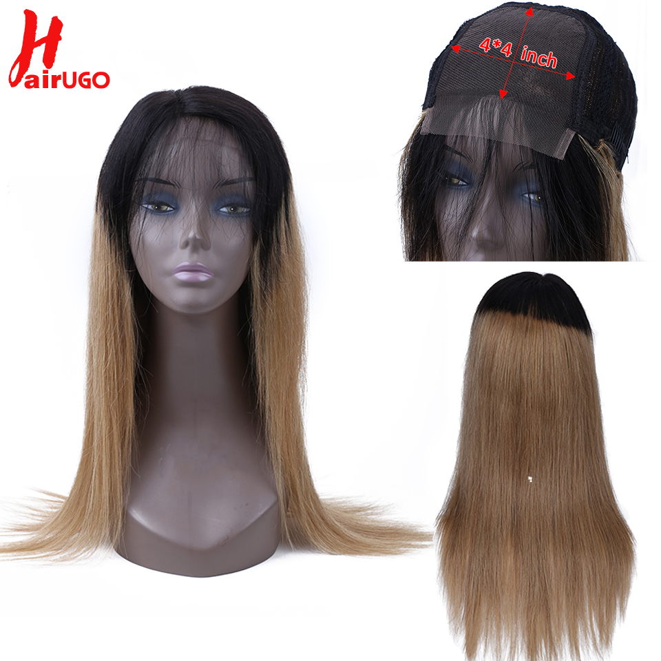 Pre Plucked 4*4 Lace Closure Human Hair Wigs With Baby Hair 150%Ombre Honey Blonde Brazilian Remy Hair Straight HairUGo Lace Wig