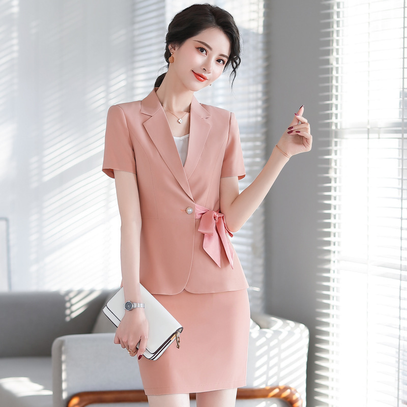 Summer 2020 New Professional Women's Skirt Suit Casual High Quality Ladies Pink Jacket Small Suit Female Elegant Slim Skirt