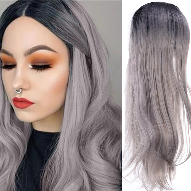 LUPU Ombre Long Wave Middle Part Synthetic Wigs Black Gray Cosplay Wig For Women Heat Resistant Fiber Natural Fake Hair