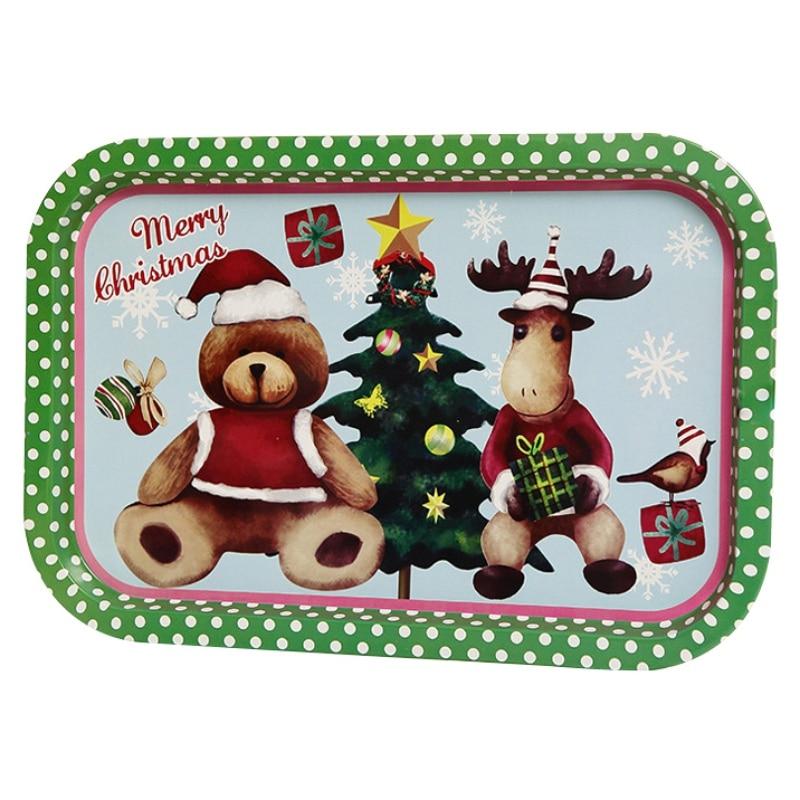 Рождественский жесть декоративный поднос для хранения пищи сервировочная тарелка Фруктовница праздничный Домашний Органайзер украшения - Цвет: 1