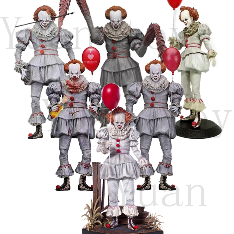 6 Type With LED Original NECA Stephen King's Iron It Pennywise Horror Action Figure Toy Doll Christmas Gift
