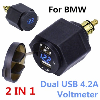 Waterproof Dual USB Charger Power Adapter Digitale Display Plug LED Voltmeter DIN Plug Socket For BMW Triumph Hella Motorcycle image