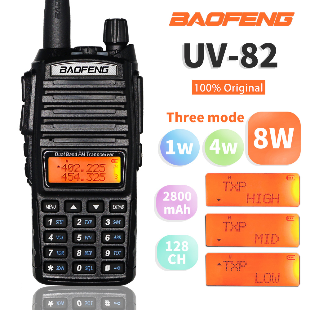 8W High Power BaoFeng UV-82 Walkie Talkie Dual Band FM Transceiver 10KM 128CH Portable CB Ham Radio UV82HP Hunting Two Way Radio