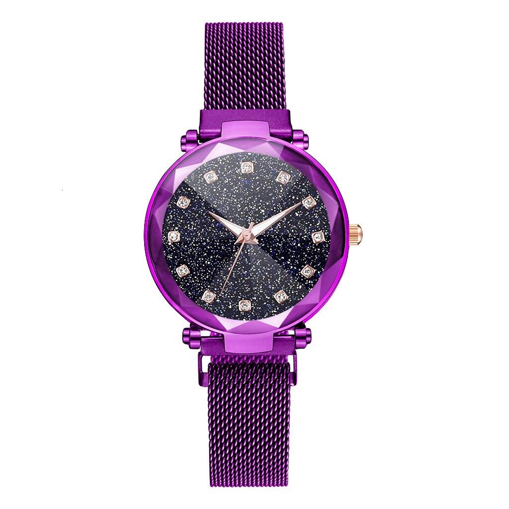 Hot Sale Women Magnet Buckle Starry Sky Big Square Diamond Watch Luxury Ladies Quartz Watch Gift Clock Relogio Feminino