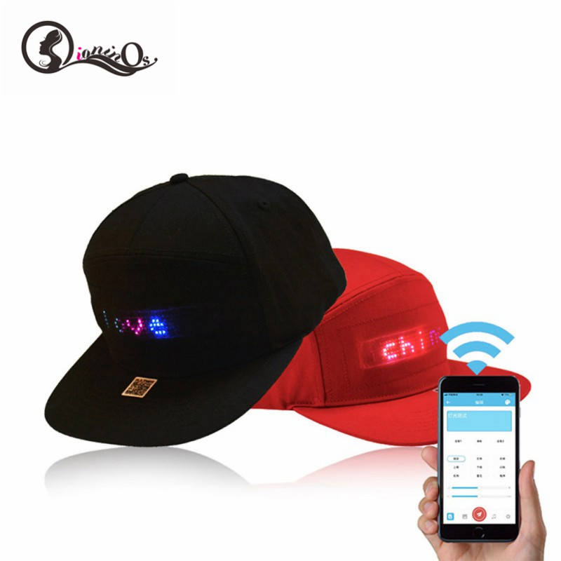 Hot LED Display Cap Smartphone App Controlled Glow DIY Edit Text Hat Baseball Cap Women Men Special Cap Couple Hat image