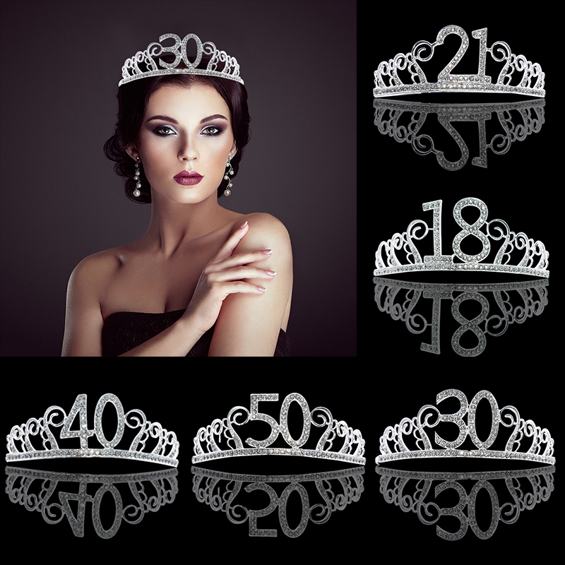 1pc Silver Metal Rhinestone Birthday Crystal Crown Hat Headband For Women Girls Anniversaire Party Decor Diadem Hair Jewelry
