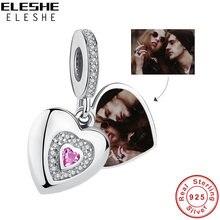 Colgante de corazón de amor para siempre, abalorio de plata de ley 925 compatible con pulsera Pandora Original, foto personalizada, joyería DIY