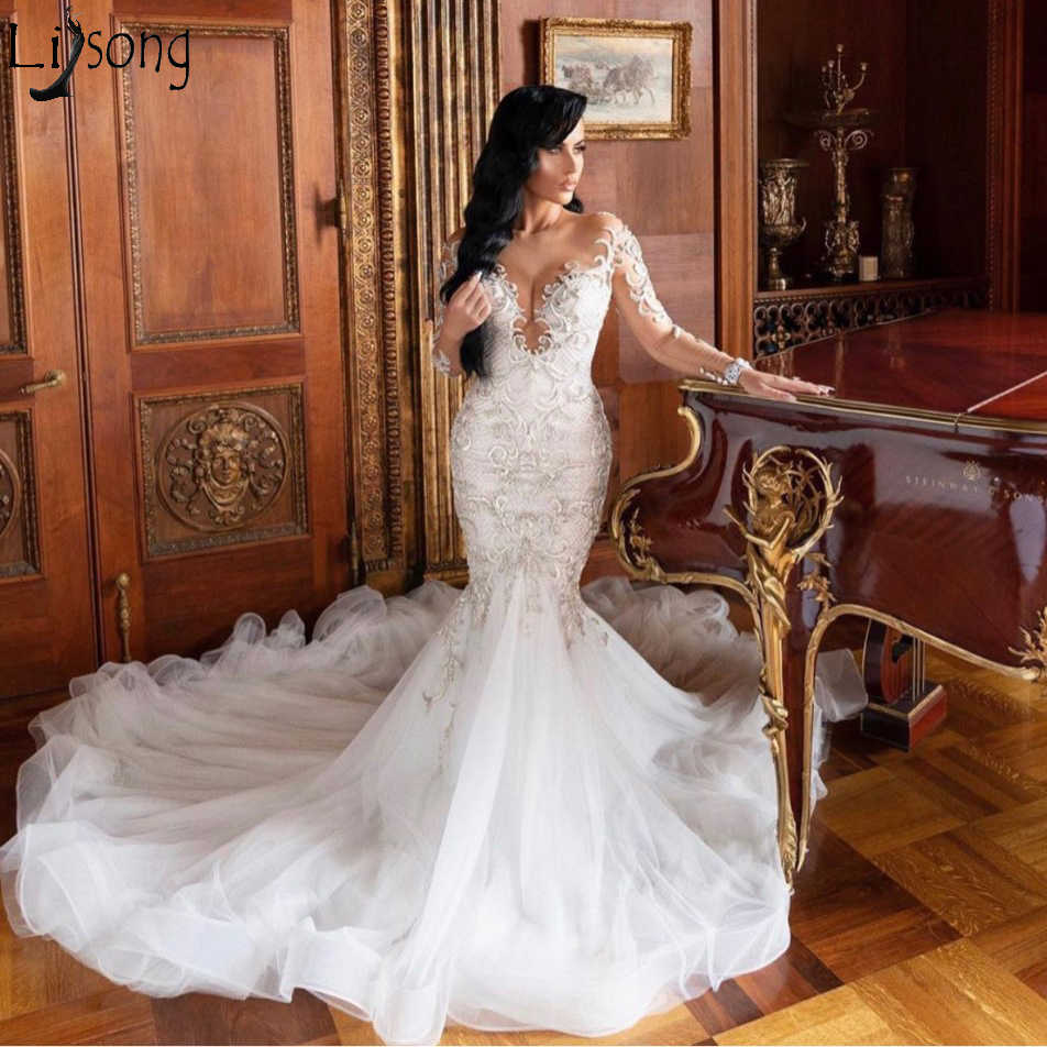 2020 Spring Couture Mermaid Wedding Dresses Luxury Lace Beads