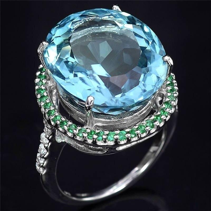 925 серебряный Аквамарин Топаз Кольцо преувеличенный Большой овальный бриллиантовое кольцо с зеленым Цирконом для женщин, подарок на свадьб...