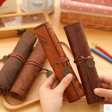 Creativity Treasure Map Vintage Canvas Leather Large Capacity Pencil Bag Cute and Simple Stationery Box Pen Scroll Boy Student