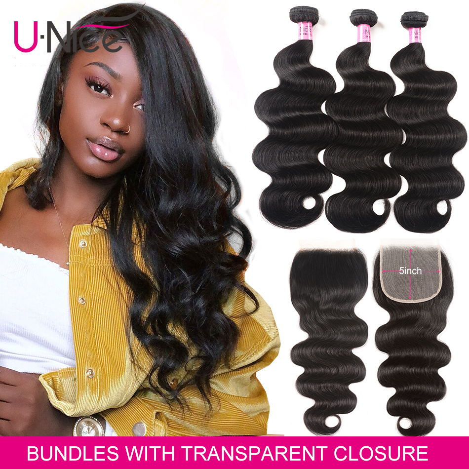 UNICE Hair 5X5 Transparent Lace Closure With Body Wave 3 Bundles Brazilian Human Hair 8-30 Inch Weaves 100% Human Hair Bundles