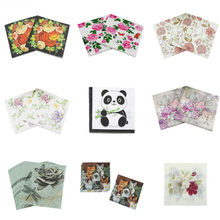 20pcs muti-stijlen bloemen Rose eenhoorn dieren Papier Servetten Cafe & Party Tissue Servetten Decoupage Decoratie Papier(China)