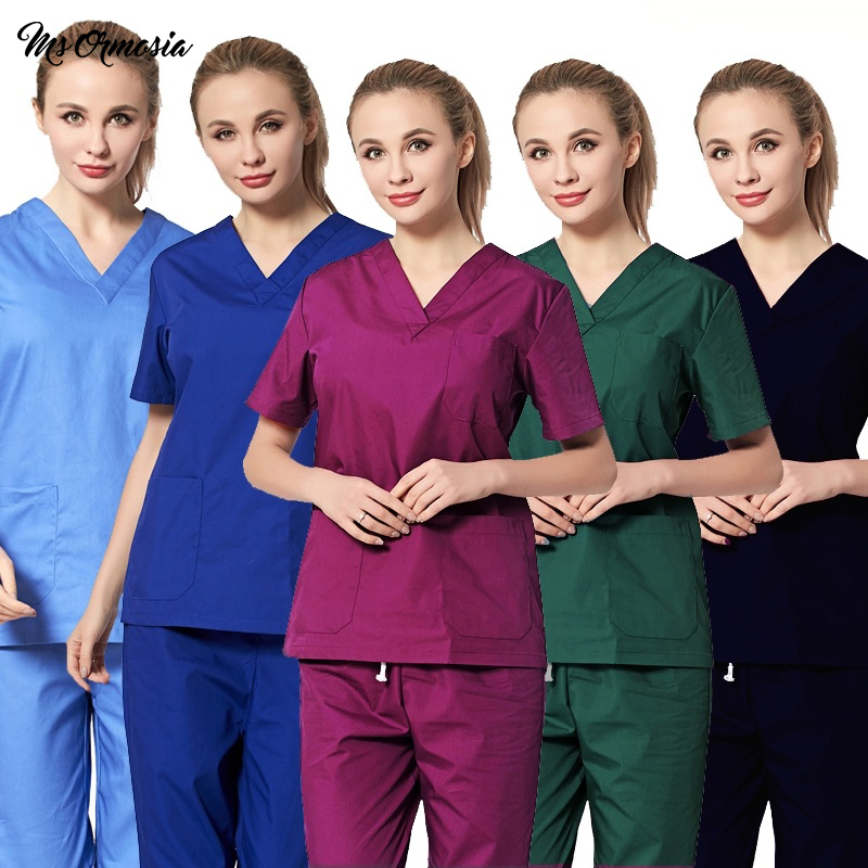 High Quality Women Medical Uniforms Classic V-neck Scrub Tops Pure Cotton Doctor Clothing Nurse Surgical Clothing( Just A Tops)