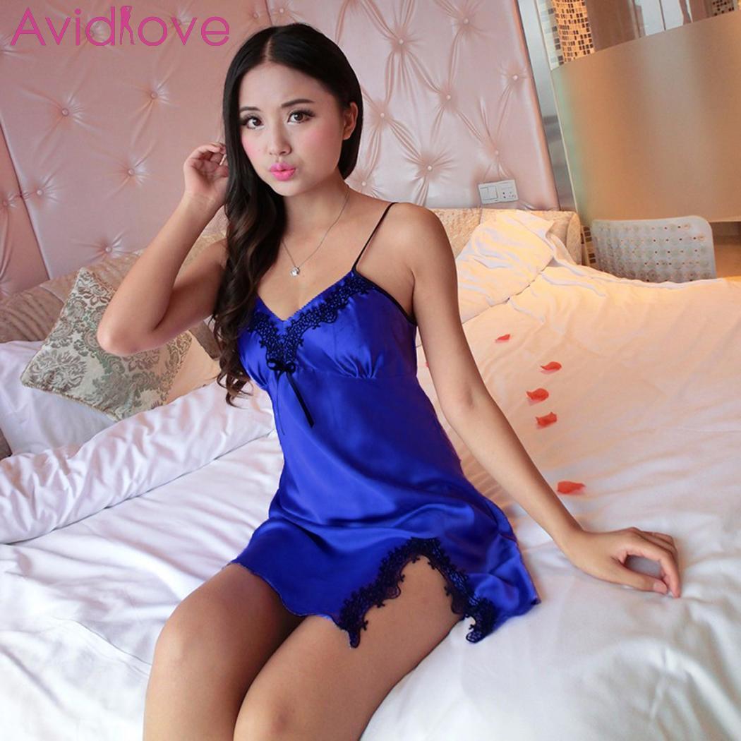 Women Sexy Babydoll Lingerie V-Neck Split Lace Trim Satin Chemise Set Underwear Plus Size Sleepdress Erotic Costumes