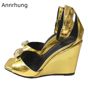 Crystal Decor High Wedges Sandals Gold Patent Leather Sandalias New Summer Open Toe Ankle Buckle Party Shoes Woman