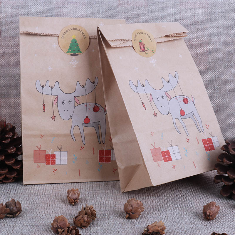Christmas Gift Box Bags Fox Reindeer Paper Bag Candy Bags Christmas New Year Packing Cookie Bags Navidad Xmas Party Decor