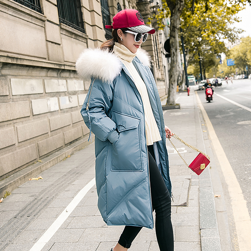 Women Winter Down Jacket Long Down Coat Female Large Fur Hooded Warm Clothes Thick Slim Jacket Ladies Clothes Hiver 19006