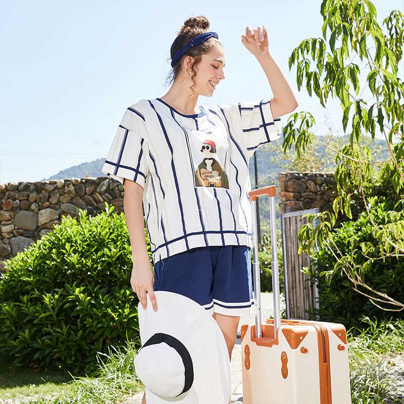 Fenteng Lente Zomer Homewear 2 Stuks Set Vrouwen Streep Losse Oneck T-shirt En Korte Vrouwelijke Pyjama L98021706