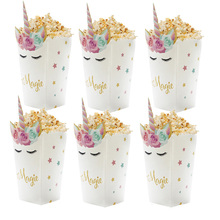 6pcs Rainbow Unicorn Popcorn Box Wedding Party Gift Candy Boxes Kids Birthday Baby Shower Decorations Supplies