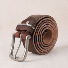 AETOO vintage soft genuine leather belt men  buckle mens handmade jeans strap cowhide young