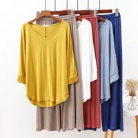 Pijamas nuevos de algodón con manga de murciélago y cuello en V, pantalones de pierna ancha de cintura elástica, conjunto de 2 piezas, ropa suave para el hogar, color sólido, 2021