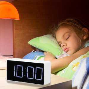 Alarm-Clock Desk Led-Table Digital Snooze-Display Bedroom Time Night Usb-Charger Ports