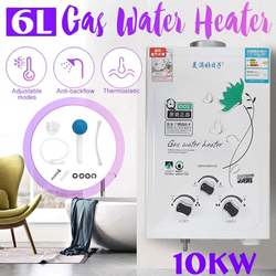 Multifuncitonal 10KW 6L Gas Tankless Water Heater Wall Mounted Hot Water Heater Thermostat Fast Heating Hot Shower for Hoem