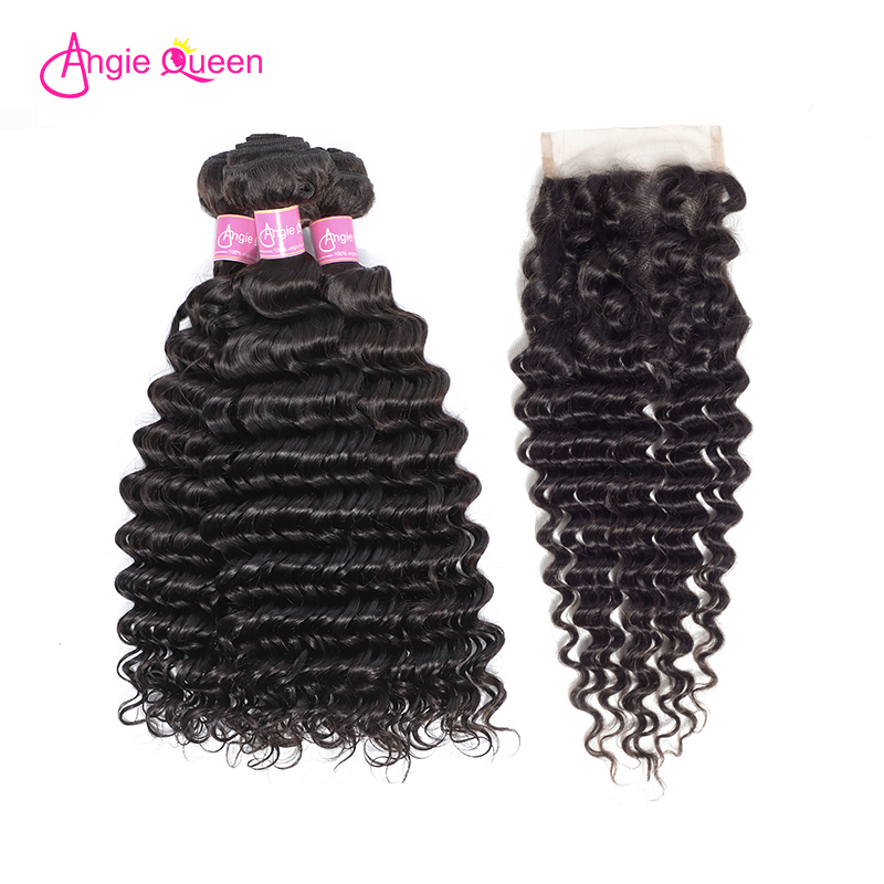 ANGIE QUEEN Malaysian Hair Bundles With Closure Deep Wave Human Hair Weave Bundles With Closure Deep Wave Remy Virgin Hair