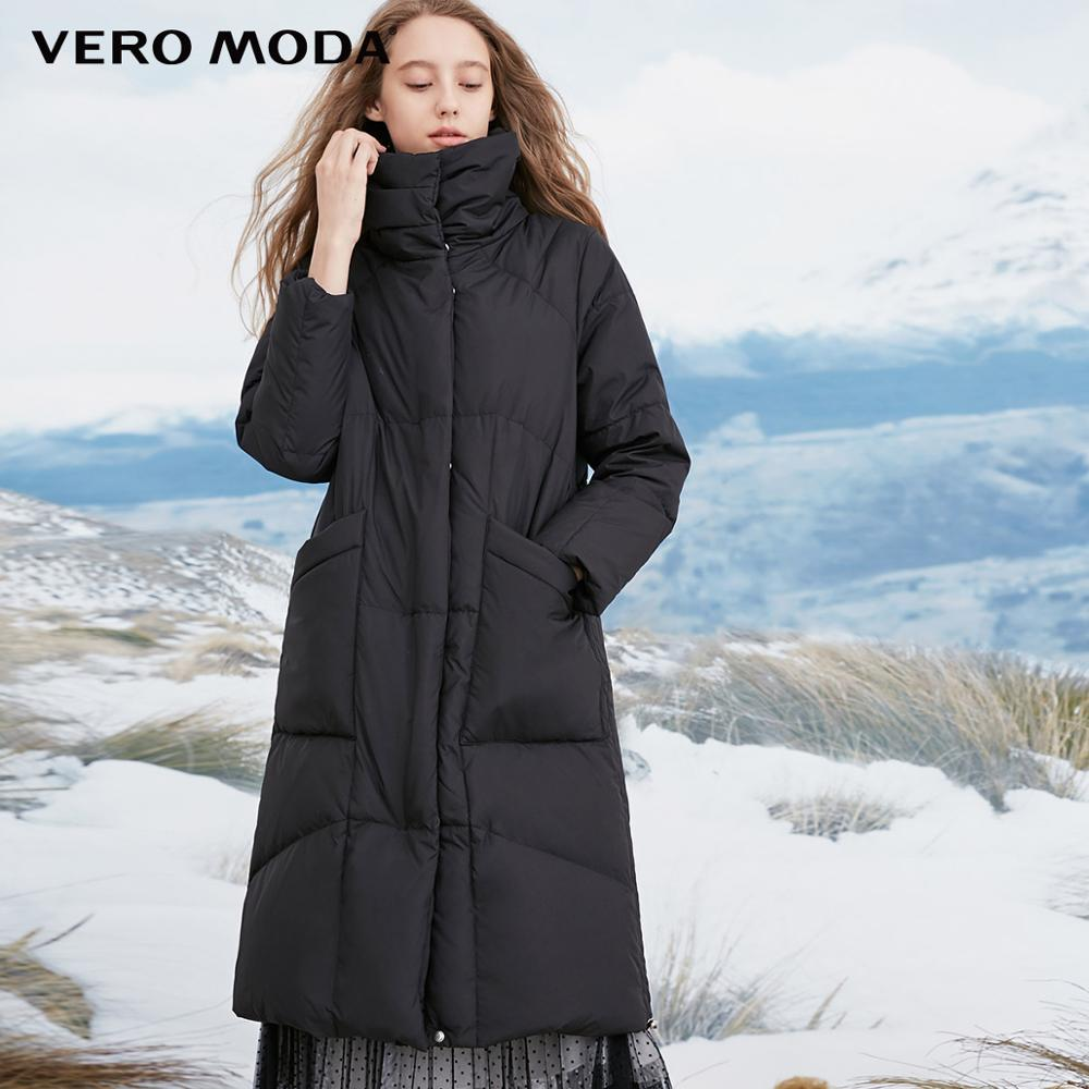 Vero Moda Women's High Collar Windproof  Sleeves 80% White Duck Down Long Down Jacket Parka Coat | 318412501