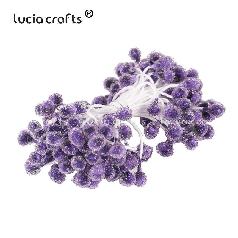 6/8/10/12/50/70/90 pièces Mix violet fleur cerise étamine baies Bundle bricolage noël mariage gâteau cadeau boîte couronnes décor C0301