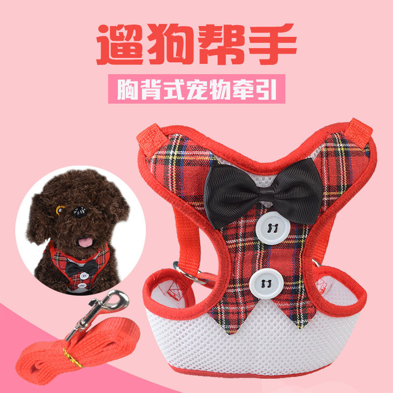 Pet Supplies Teddy Bichon Pomeranian Schnauzer Small Dogs Sandwich Formal Dress Chest And Back Butterfly Bowtie Chest And Back