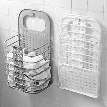 Складная корзина для ванной комнаты Органайзер корзина для хранения одежды ведро для белья настенный пластиковый стеллаж для хранения для домашнего хранения