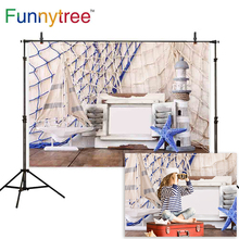 Funnytree backgrounds for photography beach sailor frame boat decoration vintage starfish ocean journey backdrop decoration