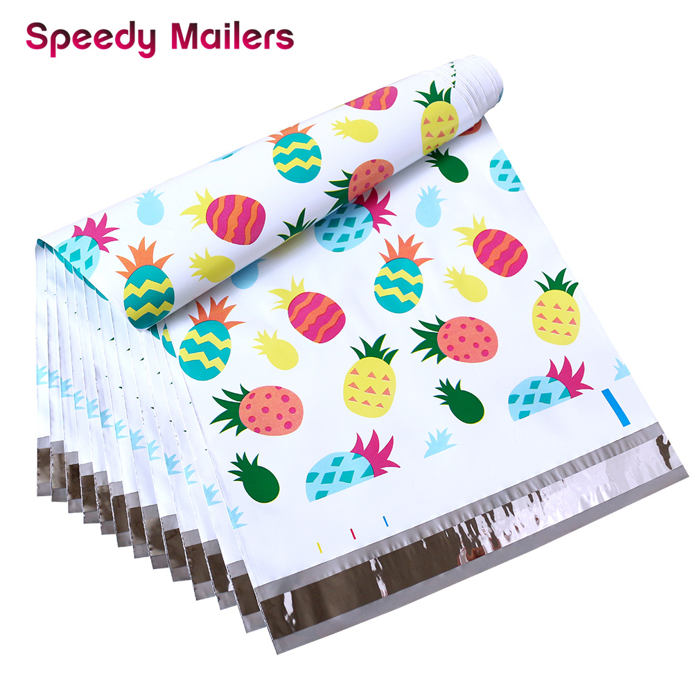 100PCS 10x13 Pineapple Designer Poly Mailer Envelope Shipping Bags With Self Seal Adhesive, Waterproof And TearProof Postal Bags
