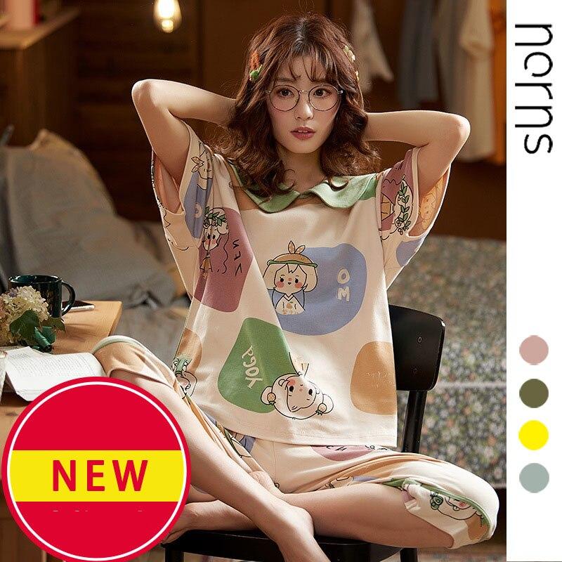 Norns Sleep Lounge Pajama Set Sexy Satin Sleepwear Women Summer Pyjama Femme Fashion Flower Pajamas For Women With Chest Pad