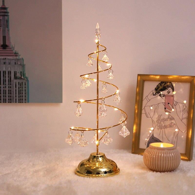 Светодиодный хрустальный светильник для рождественской елки на батарейках для украшения стола и окна дома и офиса TT-best