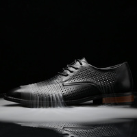 Breathable leather shoes for men summer hollow business casual coolCow leather shoes men's lace up pointed office men's shoes