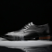 Breathable leather shoes for men summer hollow business casual coolCow leather