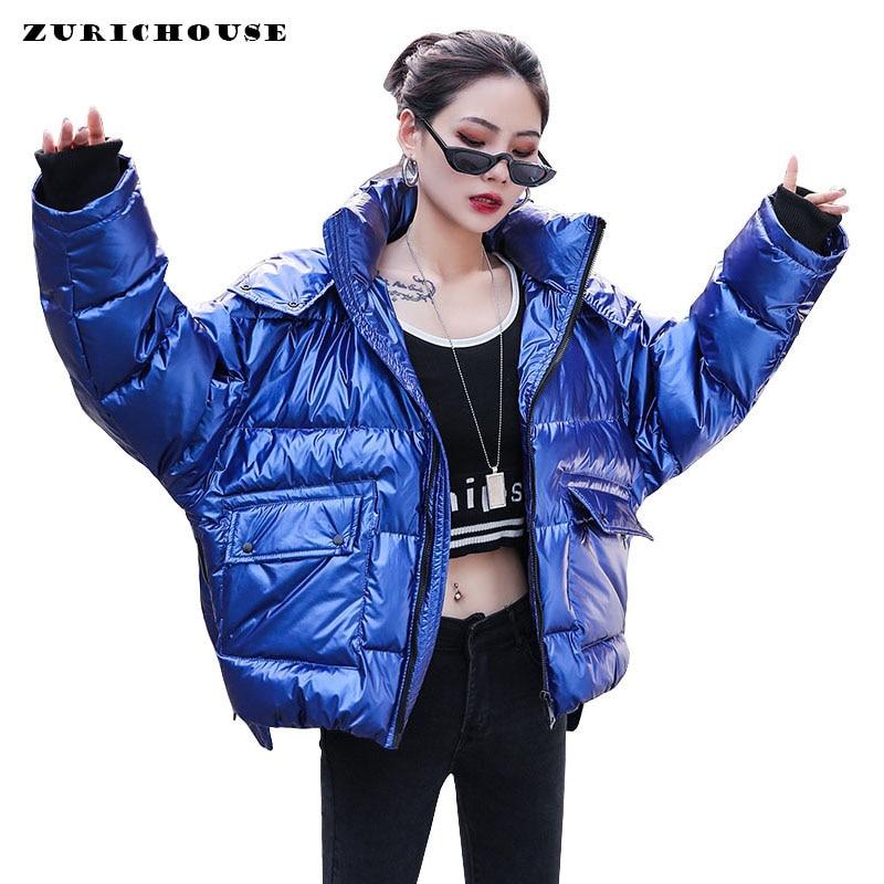 ZURICHOUSE 2020 Women's Parka Warm Hooded Puffer Coat Female Street Style Fashion Plus Size Loose Glossy Winter Down Jacket