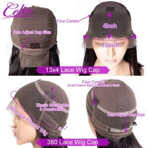 Image 5 - Kinky Thẳng Tóc Giả Celie Ren Mặt Trước Con Người Tóc Giả Cho Nữ Màu Đen Trước Nhổ 360 Ren Phía Trước Tóc Giả Glueless Con Người tóc Giả