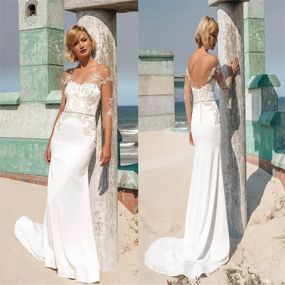 Sheer  Illusion Neck Lace Appliques Mermaid Wedding Dresses Natural Slim Bridal Gowns Natural Slim Beach Bride Dress