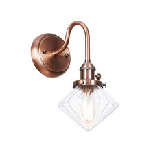 Алмазный стеклянный настенный светильник бра красная бронза