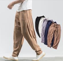 Style Harajuku Plus Size  Men Trousers Samurai Costume Loose Japan Fashion Capris Pants Asian Smart Casual afc asian cup 2019 japan turkmenistan