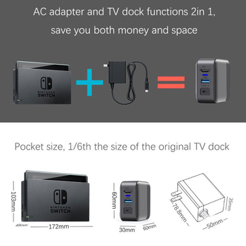 3 in 1 Multifunction Charging Dock PC Adapter USB Type-C HD Connector TV Converter for NintendoSwitch Nintendo Switch NS Console 2