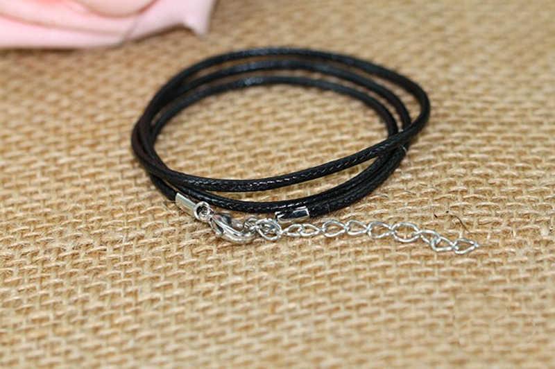 สีดำหนังเชือกเทียนเชือกสายกุ้งก้ามกรามทำจี้สร้อยคอสร้อยข้อมือโซ่ DIY String เครื่องประดับอินเทรนด์อุปกรณ์เสริม