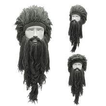 Men Women Barbarian Viking Handmade Knit Wig Hat with Detachable Long Fake Beard Funny Crazy Halloween Cosplay Warm Beanie Cap