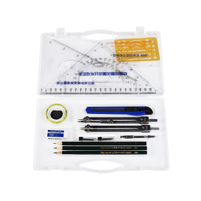 16pcs/set Drafting Compass Kit Drawing Ruler Pencil Student School Supplies Tool Drafting Compass