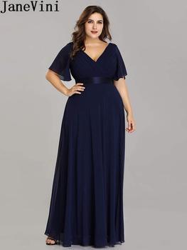 JaneVini Ladies Chiffon Long Mother of the Bride Dresses Plus Size Pleat Elegant Groom Mother Party Dress robe mere de la mariee 2