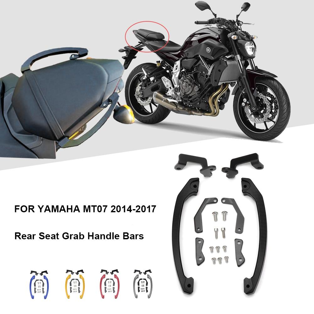 KEMiMOTO MT07 MT 07 Grab Handle Bars Rear Seat Passenger Grab Rail Handle For Yamaha MT-07 FZ07 FZ 07 2014 2015 2016 2017