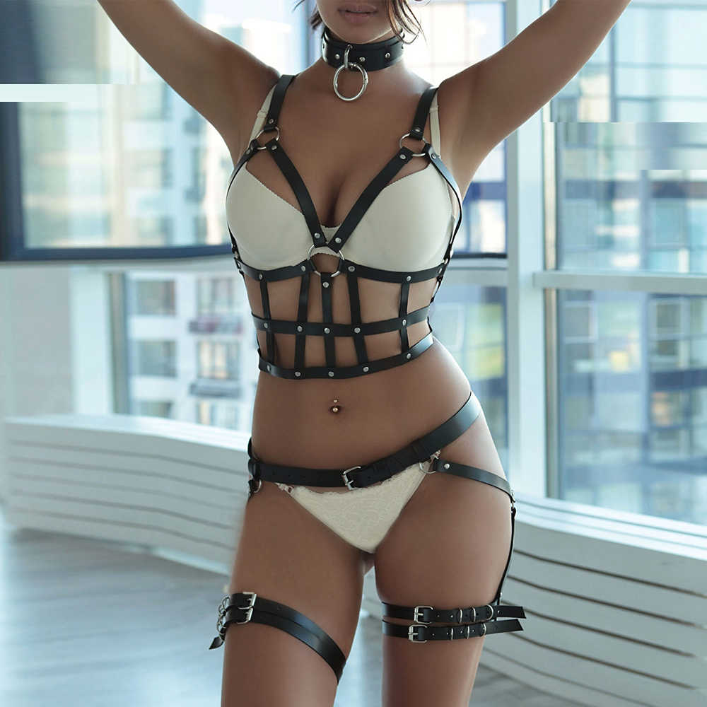 2PCS Sculpting 2pcs Garter Sets For Women Lingeire BDSM Stockings Leather Harness Bra Strap Body Suspenders Harajuku Belts